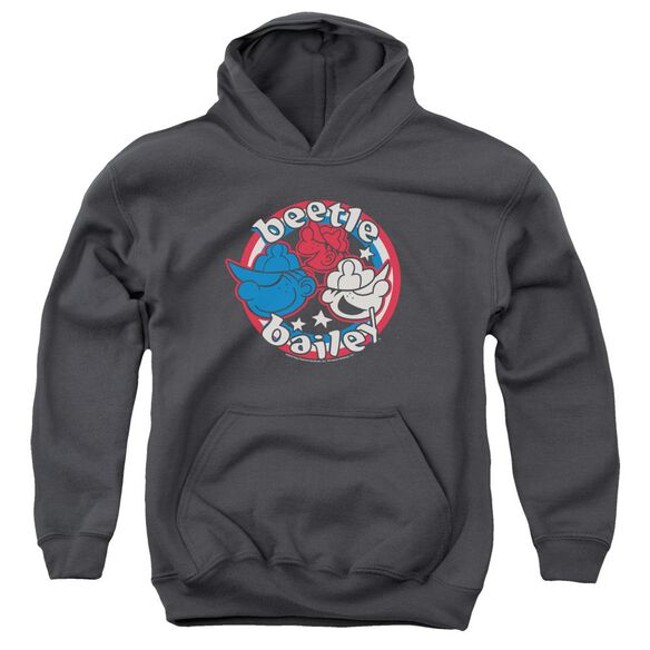 Beetle Bailey Red White And Bailey Youth Pull Over Hoodie