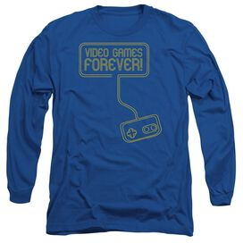 Video Games Forever Long Sleeve Adult Royal T-Shirt