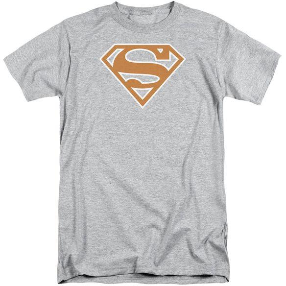 Superman Burnt Orange&White Shield Short Sleeve Adult Tall Athletic T-Shirt