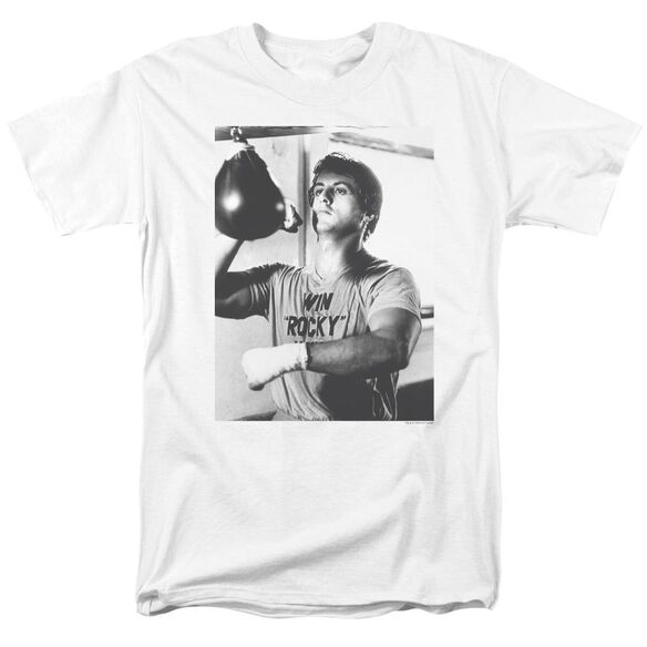 Rocky Square Short Sleeve Adult White T-Shirt