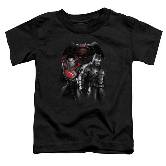 Batman V Superman Stand Off Short Sleeve Toddler Tee Black T-Shirt