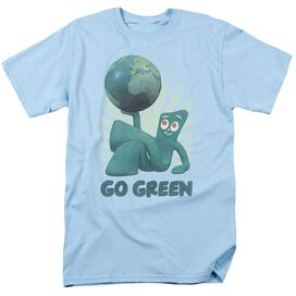 Gumby Go Green Short Sleeve Adult Light Blue T-Shirt