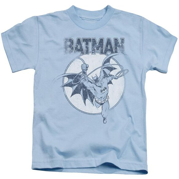 Batman Swinging Bat Short Sleeve Juvenile Light Blue T-Shirt