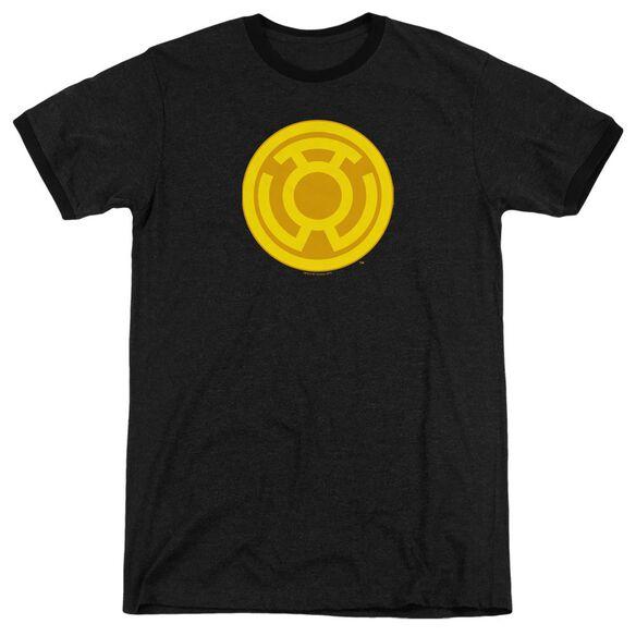 Green Lantern Yellow Symbol - Adult Heather Ringer - Black