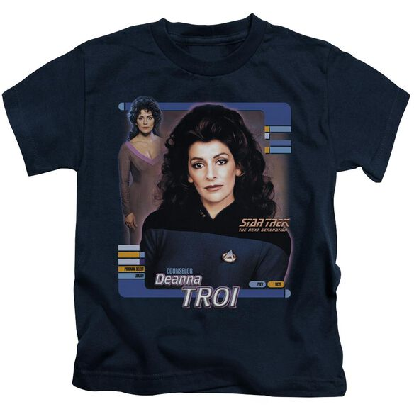 Star Trek Deanna Troi Short Sleeve Juvenile Navy T-Shirt