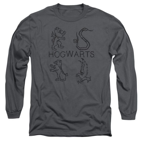 Harry Potter Literary Crests Long Sleeve Adult T-Shirt