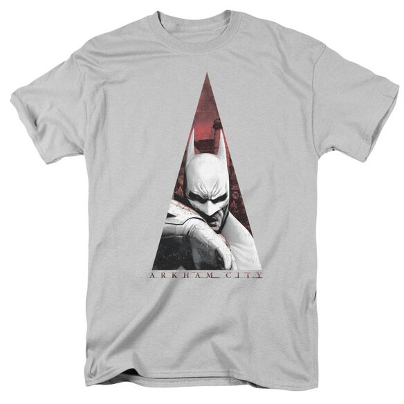 Arkham City Bat Triangle Short Sleeve Adult Silver T-Shirt