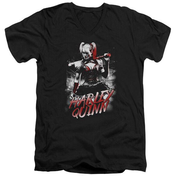 Batman Arkham Knight Quinn City Short Sleeve Adult V Neck T-Shirt