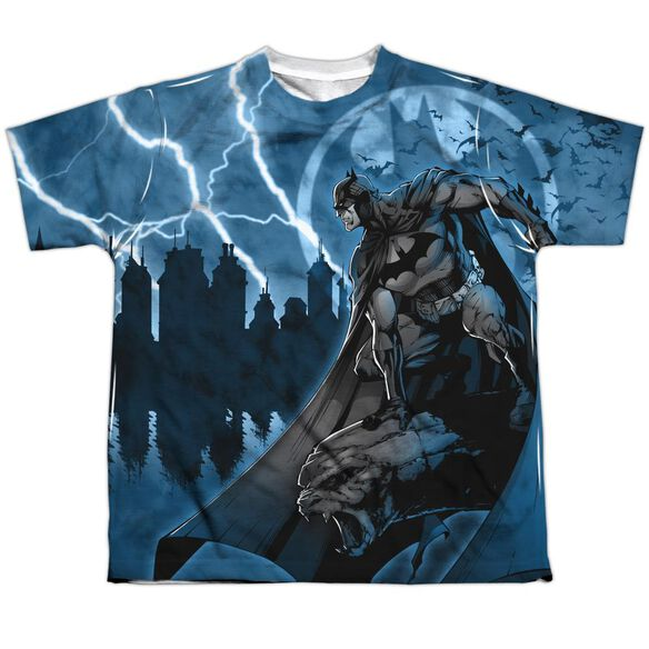 Batman Lightning Strikes Short Sleeve Youth Poly Crew T-Shirt