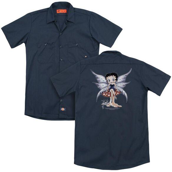 Betty Boop Mushroom Fairy (Back Print) Adult Work Shirt