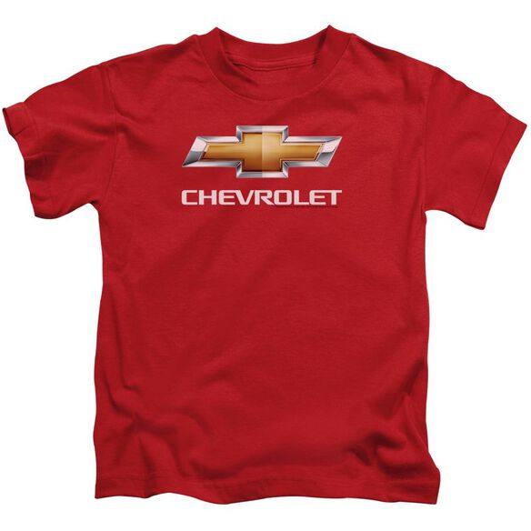 Chevrolet Chevy Bowtie Stacked Short Sleeve Juvenile Red T-Shirt