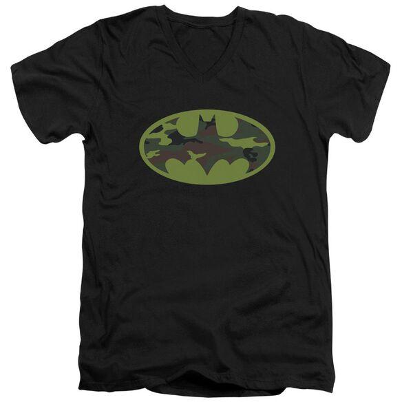 Batman Camo Logo Short Sleeve Adult V Neck T-Shirt