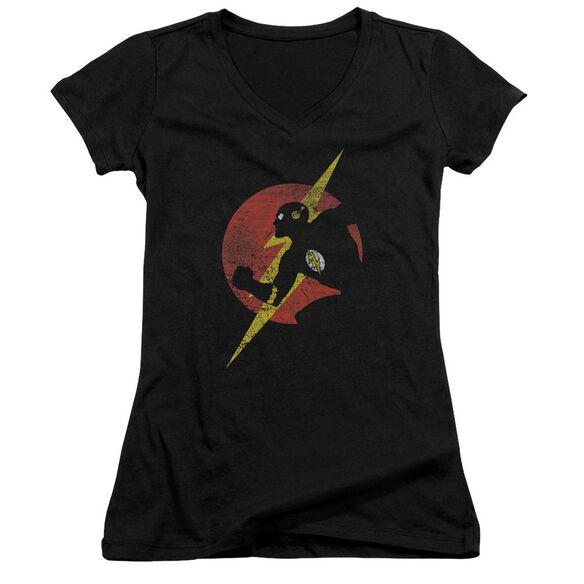 Jla Flash Symbol Knockout Junior V Neck T-Shirt