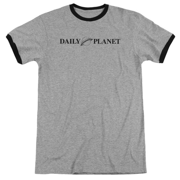 Superman Daily Planet Logo Adult Ringer Heather Black