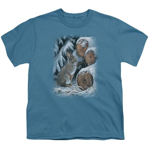 Wildlife Wood Pile Rabbit Short Sleeve Youth T-Shirt