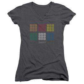 Rubik's Cube Minimal Squares Junior V Neck T-Shirt