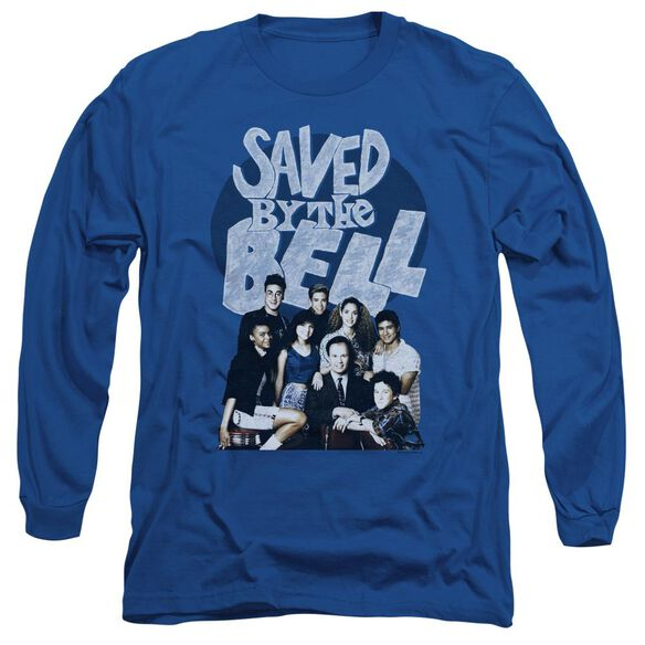 Saved By The Bell Retro Cast Long Sleeve Adult Royal T-Shirt
