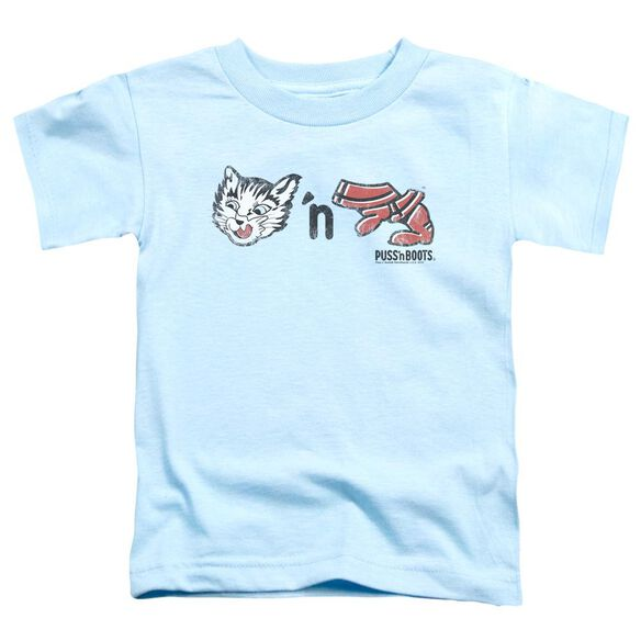Puss N Boots Rebus Logo Short Sleeve Toddler Tee Light Blue Sm T-Shirt