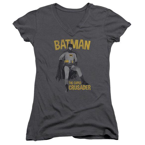 Batman Classic Tv Caped Crusader Junior V Neck T-Shirt