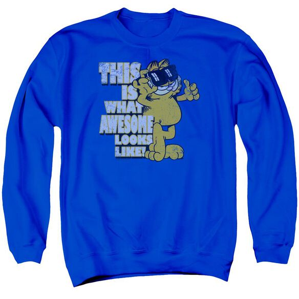 Garfield Awesome Adult Crewneck Sweatshirt Royal