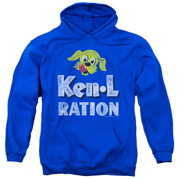 Ken L Ration Distressed Logo Adult Pull Over Hoodie Royal