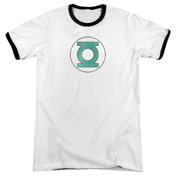 Dc Green Lantern Distressed Adult Ringer White Black