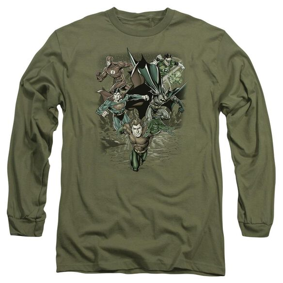 Jla Spacing Out Long Sleeve Adult Military T-Shirt