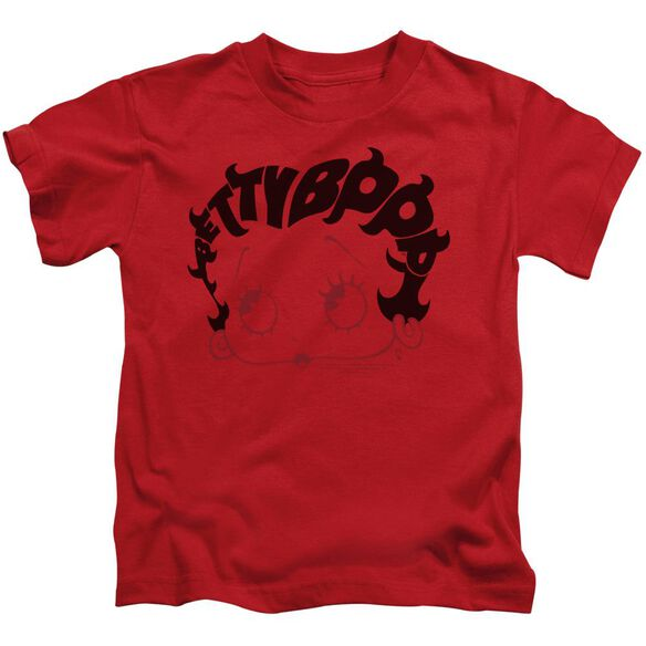 Betty Boop Word Hair Short Sleeve Juvenile Red T-Shirt