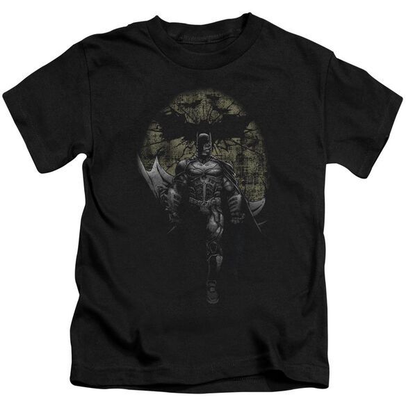 Dark Knight Rises Distressed Dark Knight Short Sleeve Juvenile Black T-Shirt