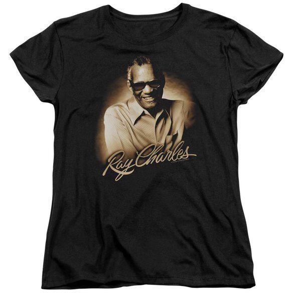 Ray Charles Sepia Short Sleeve Womens Tee Black T-Shirt