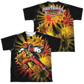 Power Rangers Red Ranger Burst (Front Back Print) Short Sleeve Youth Poly Crew T-Shirt