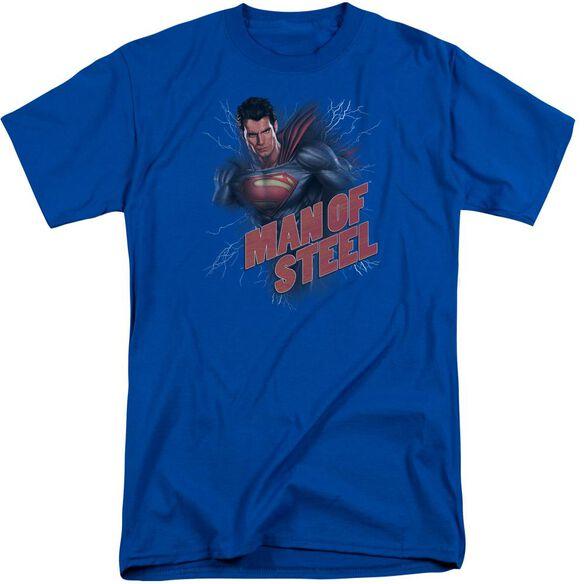 Man Of Steel Lightning Power Short Sleeve Adult Tall Royal T-Shirt