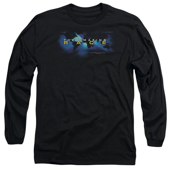 AMAZING RACE FADED GLOBE - L/S ADULT 18/1 - BLACK T-Shirt