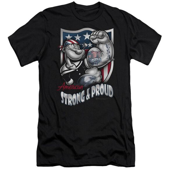 POPEYE STRONG & PROUD - S/S ADULT 30/1 - BLACK T-Shirt