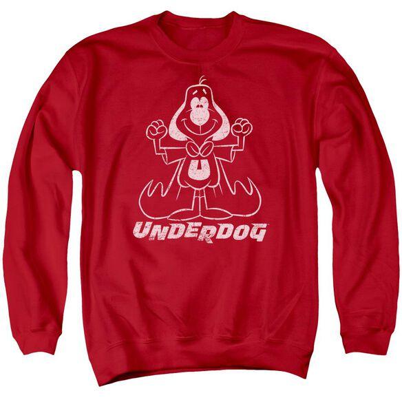 Underdog Outline Under Adult Crewneck Sweatshirt