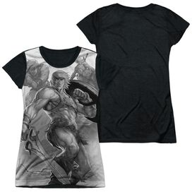 Masters Of The Universe B&W Short Sleeve Junior Poly Black Back T-Shirt