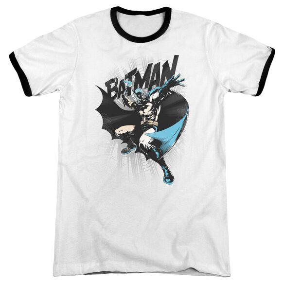 Batman Batarang Throw - Adult Ringer - White/black