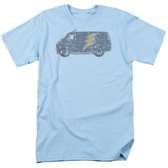 Lightening Van Short Sleeve Adult Light Blue T-Shirt