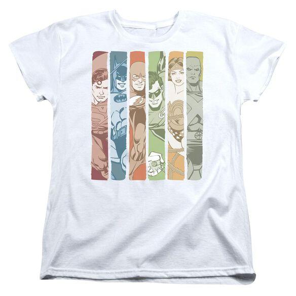 Dc Justice League Columns Short Sleeve Womens Tee T-Shirt