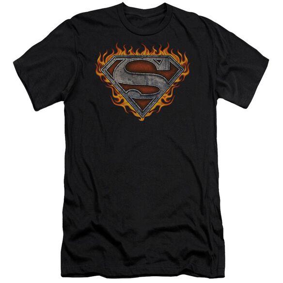 Superman Iron Fire Shield Short Sleeve Adult T-Shirt