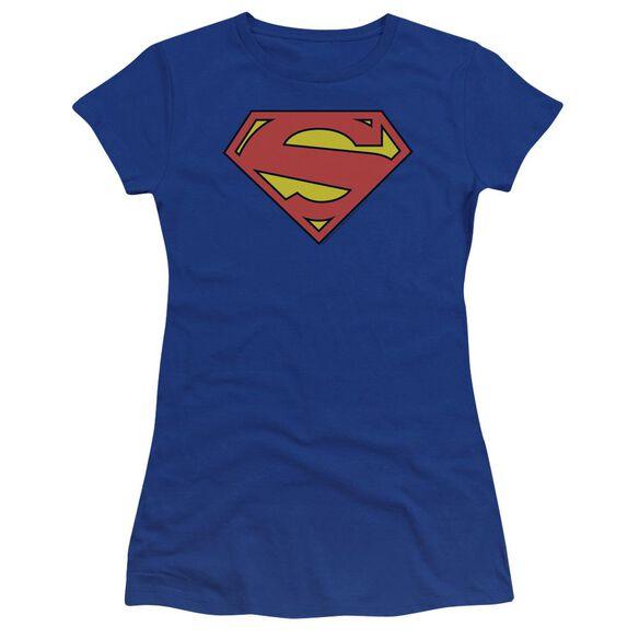 Superman New 52 Shield Premium Bella Junior Sheer Jersey Royal