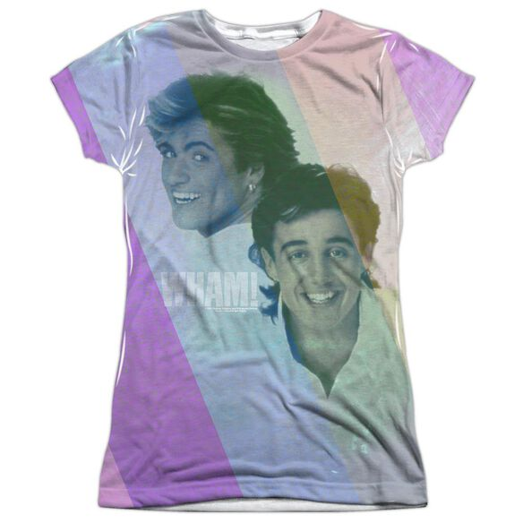 Wham Pastel Lines Short Sleeve Junior Poly Crew T-Shirt