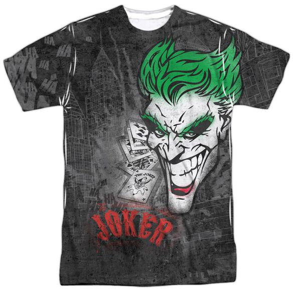 Batman Joker Sprays The City Short Sleeve Adult 100% Poly Crew T-Shirt