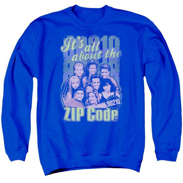 90210 Zip Code Adult Crewneck Sweatshirt Royal
