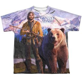 Grizzly Adams Man And Bear Short Sleeve Youth Poly Crew T-Shirt