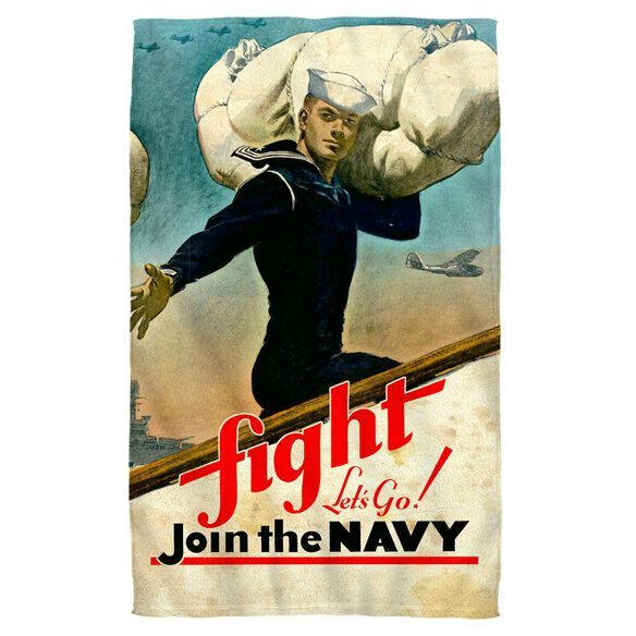Navy Fight Lets Go Beach Towel