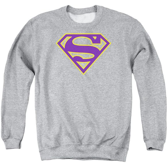 Superman Purple & Gold Shield - Adult Crewneck Sweatshirt - Athletic Heather