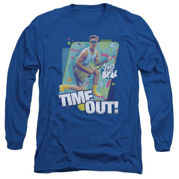 Saved By The Bell Time Out Long Sleeve Adult Royal T-Shirt