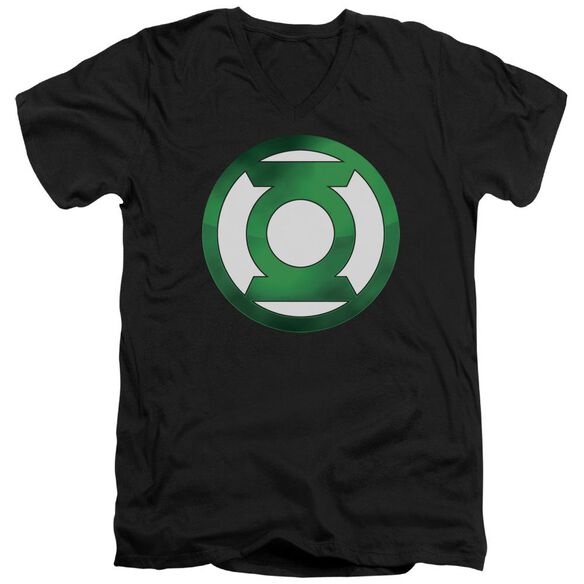 Green Lantern Green Chrome Logo Short Sleeve Adult V Neck T-Shirt