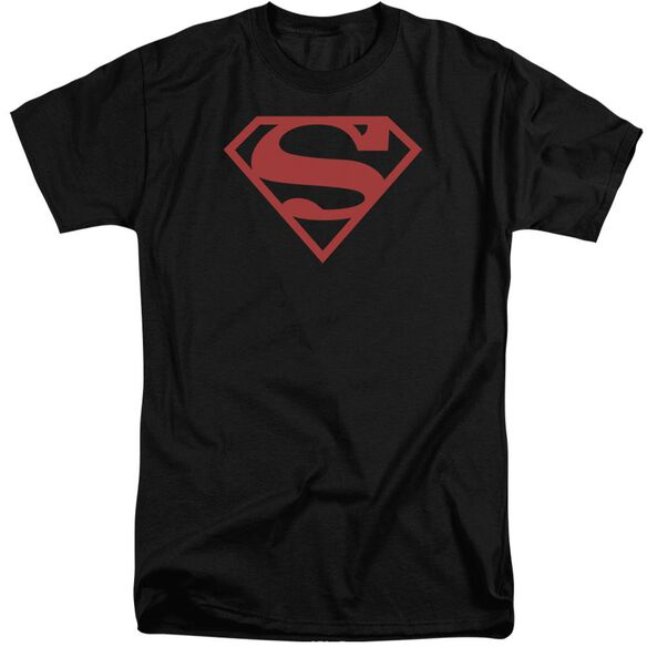 Superman Red On Shield Short Sleeve Adult Tall T-Shirt